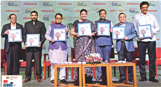 Lokmat Icons of Education - Maharashtra, a coffee table book brought out by Lokmat Media, was released at a grand ceremony in Pune on Saturday. Seen on the occasion are Smriti Irani, Vinod Tawde, Vijay Darda, Rajendra Darda, Dinkar Raikar, Ajeenkya Patil and Anil Shirole.